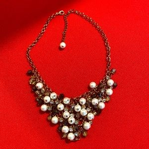 Gorgeous pearls and crystals bib necklace